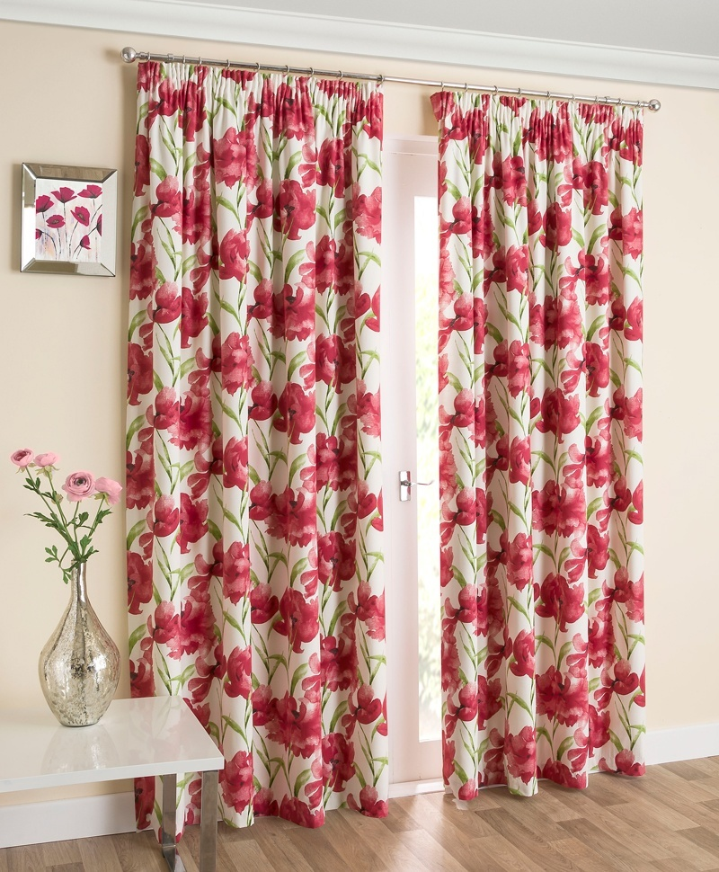 Henley Interlined Curtains In Red Free UK Delivery Terrys Fabrics - Ready made curtains red