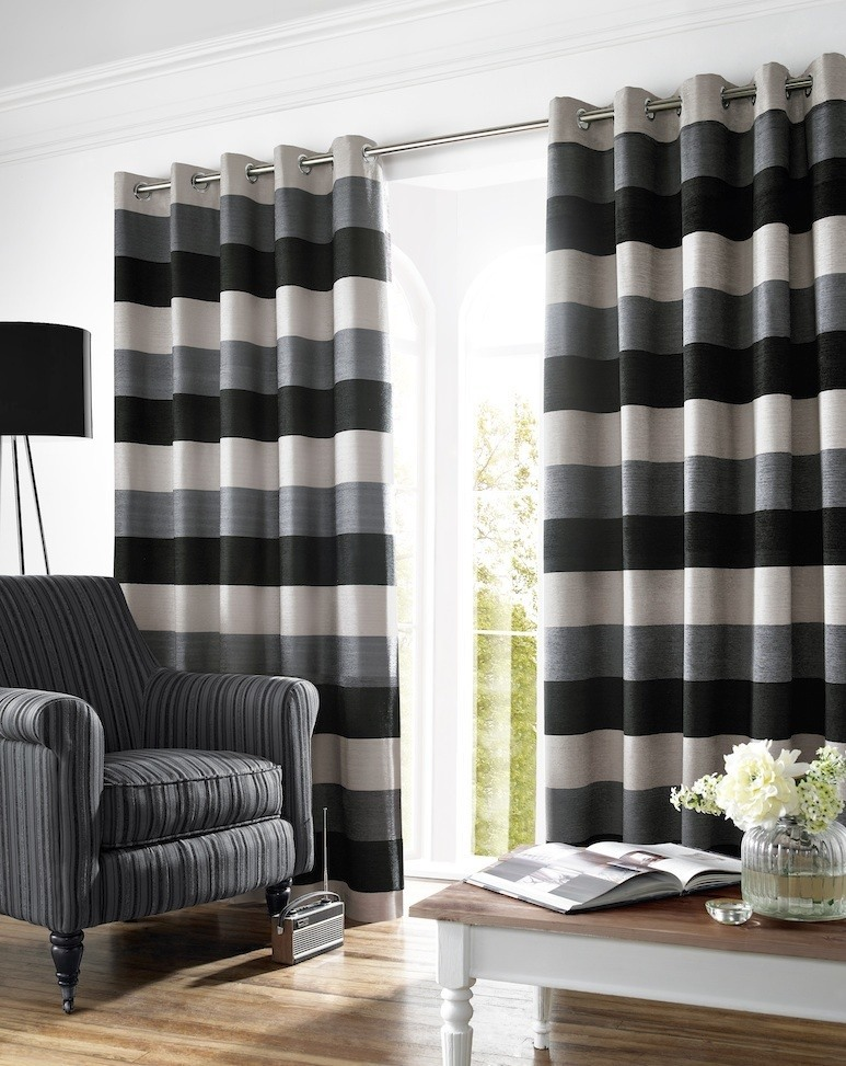 Bromley Ready Made Lined Eyelet Curtains  Grey Striped Curtains