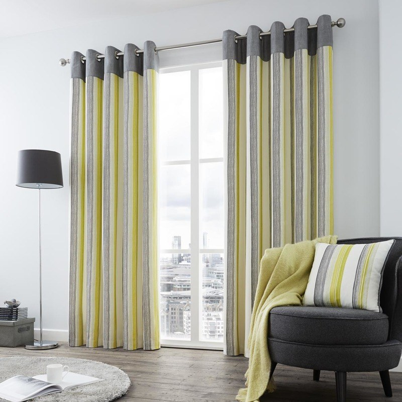 Superb Rydell Stripe Ready Made Lined Eyelet Curtains