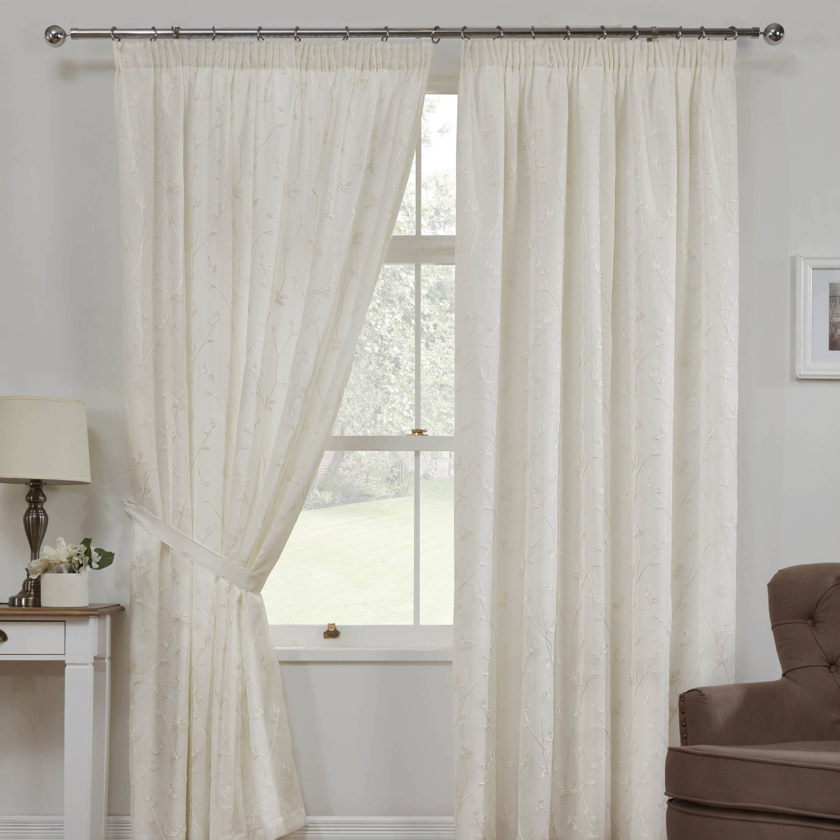 Como Linen Look Ready Made Lined Voile Curtains. Como Linen Look Voile Curtains In Cream   Free UK Delivery