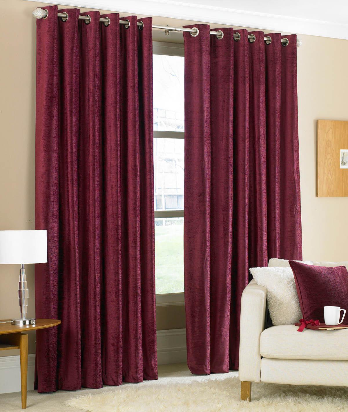 Purple silk curtains - Valentino Ready Made Eyelet Curtains