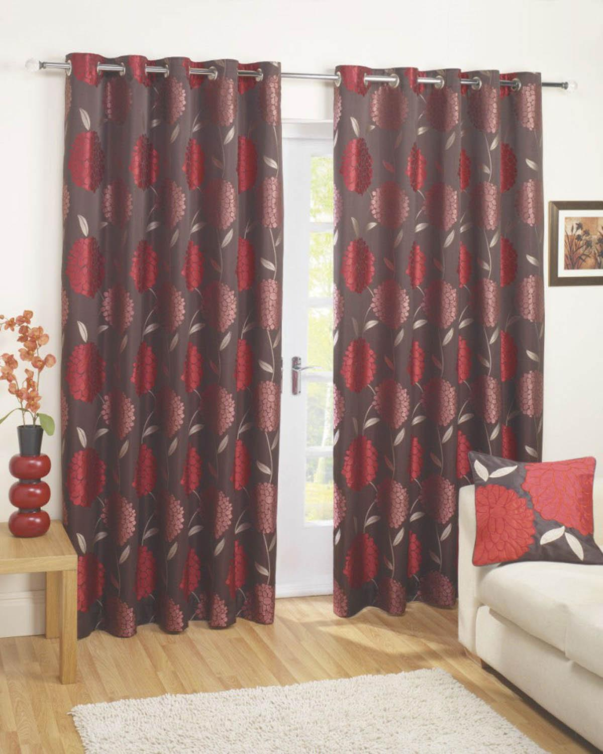 Red Como Floral Eyelet Curtains Free UK Delivery Terrys Fabrics - Ready made curtains red