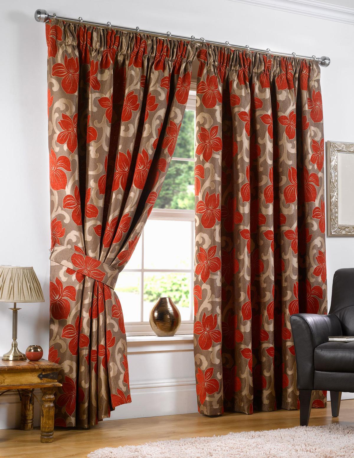 Hampton Ready Made Curtains Chilli Free UK Delivery Terrys Fabrics - Ready made curtains red