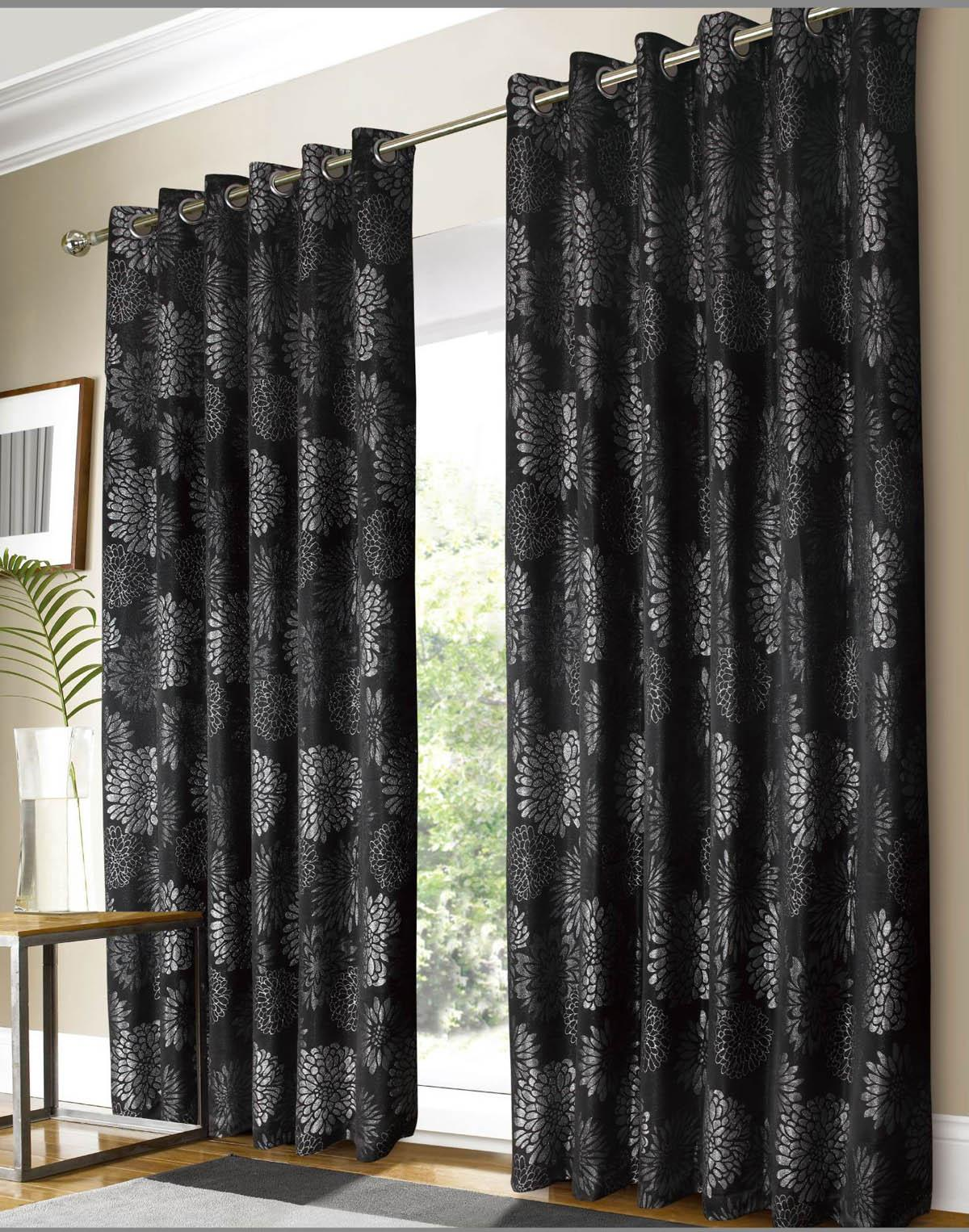 black silver vegas ready made curtains free uk delivery terrys