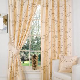 Embroidered Leaf Lined Curtains
