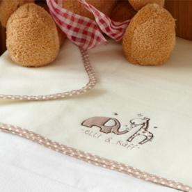 Elli and Raff Embroidered Fleece Cot Blanket