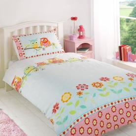 Owls Printed Duvet Set Single