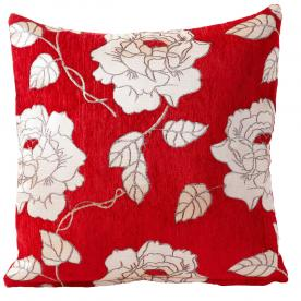 Chenille Rose Filled Cushion