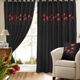 Poppies Ready Made Lined Eyelet Curtains