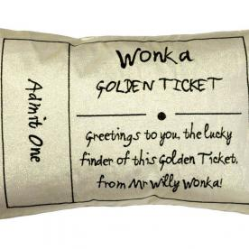 Roald Dahl's Charlie and The Chocolate Factory Golden Ticket Filled Cushion