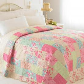 Evie Luxury Patchwork Quilted Bedspread - Single