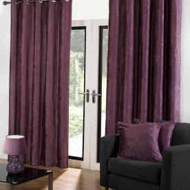 Velvet Ready Made Eyelet Curtains