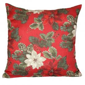 Poinsettia Cushion Filled
