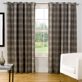 Chequers Ready Made Lined Eyelet Curtains