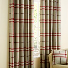 Lomond Check Ready Made Lined Eyelet Curtains