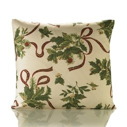 Holly Ribbon Christmas Filled Cushion