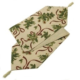 Holly Ribbon Christmas Table Runner