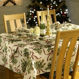 Holly Ribbon Christmas Table Linen