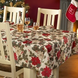 Poinsettia Christmas Table Linen