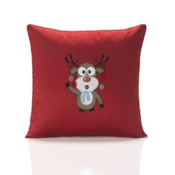 Rudolph Embroidered Faux Silk Christmas Filled Cushion