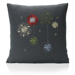 Party Embroidered Faux Silk Christmas Filled Cushion
