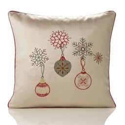 Deco Embroidered Faux Silk Christmas Filled Cushion