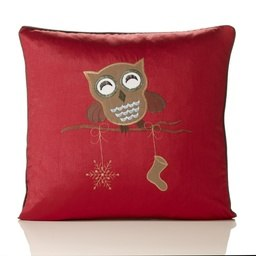 Owl Embroidered Faux Silk Christmas Filled Cushion