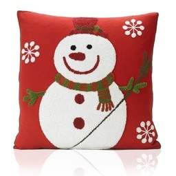 Snowman Tapestry Towelling Christmas Filled Cushion