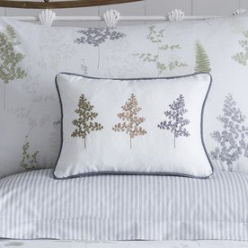 Linden Fern Embroidered Filled Boudoir Cushion
