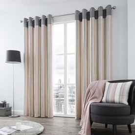 Rydell Stripe Ready Made Lined Eyelet Curtains