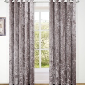 Velvet Ready Made Lined Eyelet Curtains