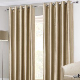 Faux Silk Ready Made Lined Eyelet Curtains