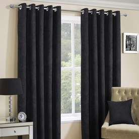 Faux Suede Ready Made Lined Eyelet Curtains
