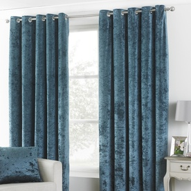 Verona Crushed Velvet Ready Made Lined Eyelet Curtains