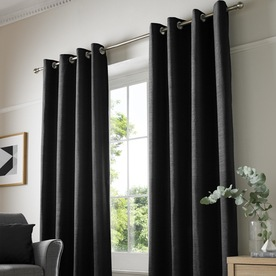 Chenille Plain Ready Made Lined Eyelet Curtains